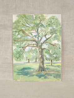 Landscape Painting , Trees , Original , Art , Fine Art , Painting , Forest , Tree , Vintage Art Gallery , Handmade , Hand Painted , Unframed by wilshepherd on Etsy