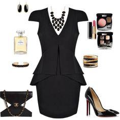 Black Peplum Dress with Louboutins created by tsteele