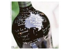 I LOVE THIS IDEA! Have guests sign a wine bottle for rustic/winery weddings.