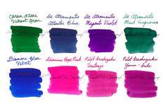 Our team's favorite colors! 2ml samples of 8 of Rachel Goulet's favorite fountain pen ink colors.  This set includes: Caran d'Ache Vibrant Green, De Atramentis Atlantic Blue, De Atramentis Magenta Violet, De Atramentis Mint Turquoise, Diamine Blue Velvet, Diamine Hope Pink, Pilot Iroshizuku Tsutsuji, and Pilot Iroshizuku Yama-budo.