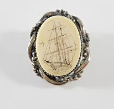 Vintage Silver Tone Nautical Scrimshaw Sailing Ship Brooch Pin Pendant Signed dy…
