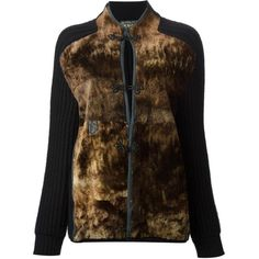 Gianfranco Ferre Vintage panelled cardigan ($736) ❤ liked on Polyvore featuring tops, cardigans, sweaters, black, long cardigan, cardigan top, vintage tops, raglan top and leather cardigan