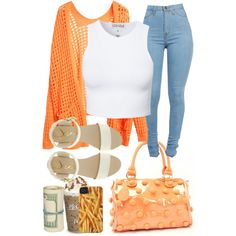 Orange and white. High waisted jeans