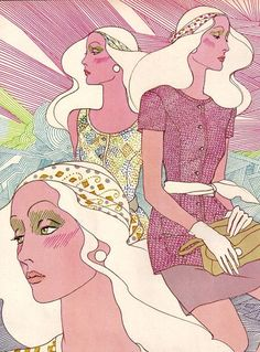 1970 fashion illustration, from a Vogue Pattern Book