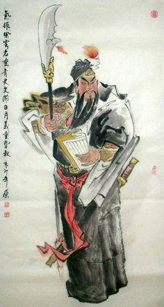 Ink Painting, Figure Painting, Folk Religion, Guan Yu, Feng Shui, Asian Tattoos, China Art, Fantasy Illustration, Chinese Painting