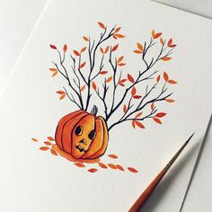 "67 Likes, 1 Comments - Sarah Hughes (@sarahhughesillustration) on Instagram: ""Inktober day 6: Some early Halloweening  #inktober #inktober2016 #pumpkin #jackolantern…"""