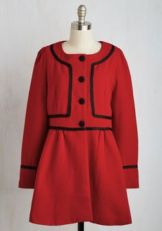 Orchestrate an Outing Coat - Black, Solid, Buttons, Long Sleeve, Fall, Woven, Better, Scoop, Red, Special Occasion, 60s, Long, 2, Winter, Valentine's