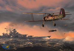 by Ron Coles - John Moffat's Swordfish dropping his torpedo against the Bismarck. It was late in the evening, almost dark, in terrible weather, and after the flight had been lost in the overcast - but his torpedo damaged Bismarck's rudder, allowing the RN Fleet to catch and destroy the warship on the following day.