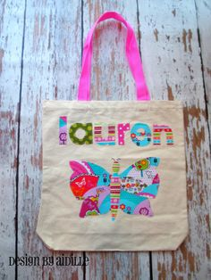 ff456a35e004 Butterfly Girls Personalized Tote Bag Name Applique Up by Aidille