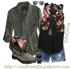 """""""Army Green, Black & Floral"""" by steffiestaffie on Polyvore"""