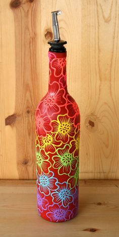 Hand Painted Wine bottle Olive Oil Pourer Red bottle by LucentJane