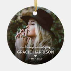 In Loving Memory   Christmas Keepsake 2 Photo Ceramic Ornament - tap, personalize, buy right now! #CeramicOrnament #remembrance, #in #loving #memory, #tribute,