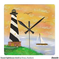 Sunset lighthouse clock