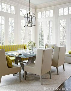 Dining room tips and trends that marry rustic and elegant decor to create bright and inviting areas.