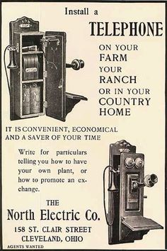 Original vintage magazine ad for the North Electric Co. Tagline or sample ad copy: Install a telephone on your farm, your ranch, or in your country home.