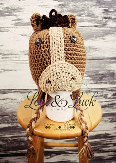 This is the first horse hat I've ever seen!  How cute!  Crochet Horse Hat with Ear Flaps for boys or girls MADE TO ORDER pony. $30.00, via Etsy.