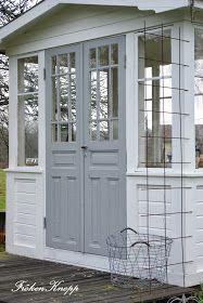 Love the gray French narrow doors