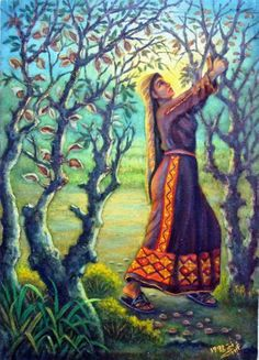 لوحة حصاد اللوز - للفنان الفلسطيني - فتحي غبن