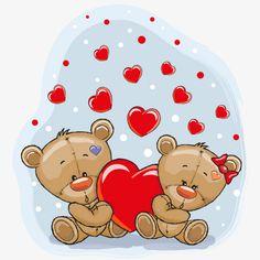 Teddy bear with red heart vector cards 01 Teddy Bear Cartoon, Cartoon Elephant, Cute Teddy Bears, Girl Cartoon, Cute Cartoon, Tatty Teddy, Teddy Bear With Heart, Panda Lindo, Grey Kitten