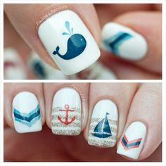 """30 Fish Nail Art Ideas which is the trending manicure design of 2019 - Hike n Dip - Outstanding """"top nail art designs"""" detail is available on our website. Take a look and you will - Fish Nail Art, Ocean Nail Art, Fish Nails, Sea Nails, Latest Nail Art, Trendy Nail Art, Cool Nail Art, Cruise Nails, Vacation Nails"""