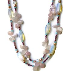 Double Strand Ice Blue Light Pink Sparkling by ALFAdesigns on Etsy, $79.99