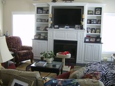 TV Over Fireplace Ideas | Familyroom with Fireplace and 52″ TV mounted over Fireplace — At ...