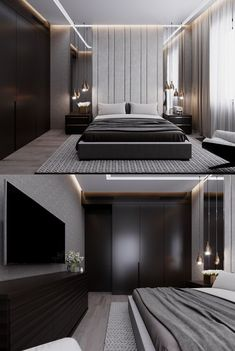 Innovative lighting enhances any type of bedroom style. These creative instances… Innovative lighting enhances any type of bedroom style. These creative instances that show you methods to brighten the room will certainly assist you. Luxury Bedroom Design, Bedroom Bed Design, Modern Master Bedroom, Modern Bedroom Decor, Home Room Design, Minimalist Bedroom, Modern Interior Design, Home Bedroom, Bedroom Ideas