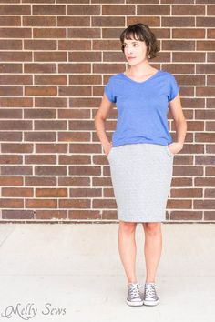DIY: knit pencil skirt with pockets