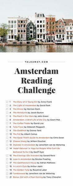 Amsterdam Reading Challenge, Books Set In Amsterdam Books And Tea, I Love Books, Good Books, Books To Read, Buy Books, Book Challenge, Reading Challenge, Reading Lists, Book Lists