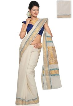 Cream Cotton Kerala Kasavu Traditional South Indian Saree with Blouse