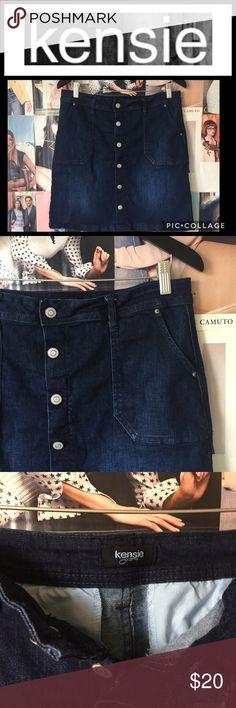 Kenzie | dark wash jean skirt EUC Cute, lightly distressed Kenzie jean skirt. Six button front, 2 button close, 2 front pockets, 2 back pockets. Worn 2-3 times, just too big. EUC. Kensie Skirts Mini