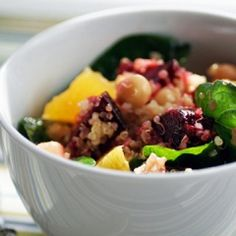 Quinoa Salad with Roasted Beets, Chickpeas, Baby Spinach, and Orange