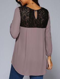 Lace Patchwork High Low Hem Chiffon Blouse, PALE PINKISH GREY, M in Blouses | DressLily.com