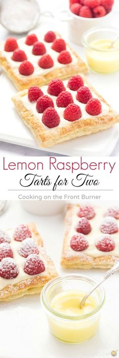 Lemon Raspberry Tarts for Two Recipe via Cooking on the Front Burner - Enjoy these Lemon Raspberry Tarts for Two with someone special! Flaky pastry, creamy lemon filling and fresh raspberries!