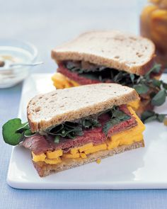 Roast Beef and Cheddar Sandwich: Mango chutney gives a sweet-spicy kick to this roast beef sandwich. Make it on rye bread and add a layer of peppery watercress for crunch.