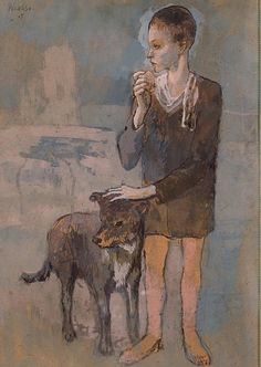 picasso Boy with a Dog. Reverse: Study of Two Figures and a Male Head in Profile - Google Search