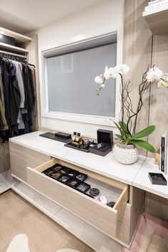 Using the boxes your jewelry came in, you can organize in a pull out drawer very effectively. Jewelry Drawer, Jewellery Storage, Shoe Rack With Shelf, Shelf Dividers, Remodeling Companies, Tie Rack, California Closets, Closet Accessories, Pull Out Drawers