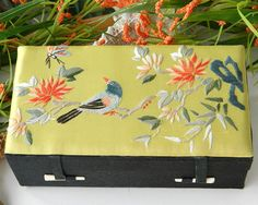 Vintage Silk Embroidered Jewelry Box Bird Flower Chinese Asian