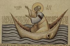 The boat (as many others do) has eyes - or could it be . Byzantine Icons, Byzantine Art, Religious Icons, Religious Art, La Résurrection Du Christ, Jonah And The Whale, Images Of Christ, Russian Icons, Christ
