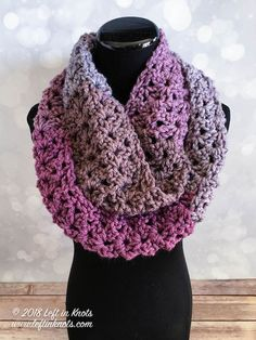 This free crochet pattern is warm enough for winter, but airy and colorful enough for you to at least start thinking about spring! It takes just one skein of Caron Tea Cakes or approx. 204 yards of your favorite Super Bulky Weight (Category 6) yarn. I hope you enjoy the Frosted Berry Infinity Scarf