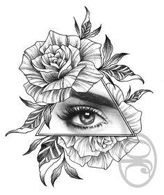 #rosetattoo #rosetattoodesign #rose #eyetattoo #allseeingeye #tattoo #rosestattoo #triangletattoo