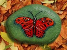 Acrylics on riverstone. Thanks for looking Red Butterfly - Rock Painting Painted Rock Animals, Painted Rocks Kids, Painted Stones, Decorated Stones, Painted Pebbles, Red Butterfly, Butterfly Painting, Stone Crafts, Rock Crafts