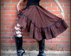Brown Steampunk Skirt ~ Pirate Stripes ~ Victorian Bustle ~ Dickens Fair Renaissance Costume Cosplay Wench Garb ~ fits S to XL