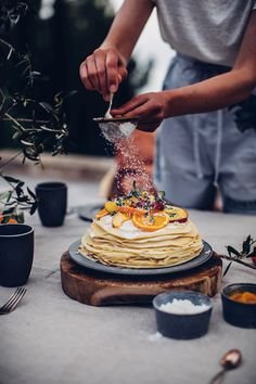 Gluten-free Crepe Cake with Peach-Passion Fruit-Jam and Cream Cheese