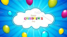 Happy Children's day by gigello Happy Children's Day, Happy Kids, Vector Illustrations, Graphic Illustration, Cloud Shapes, Child Day, The Creator, Clouds, Concept