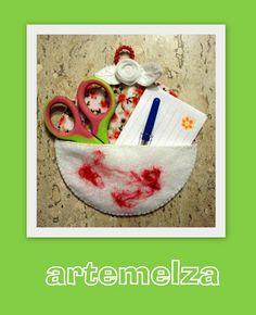 ARTEMELZA - Arte e Artesanato: Porta trecos com CD, feltro e feltragem.