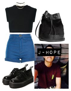 """J-Hope Inspired Outfit #4"" by flaviaazevedo2000 ❤ liked on Polyvore featuring Manoush, adidas Originals, H&M, Wet Seal, kpop, bts, bias and Jhope"