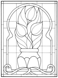 Art Nouveau Stained Glass Tulips in vase Stained Glass Quilt, Stained Glass Flowers, Faux Stained Glass, Stained Glass Designs, Stained Glass Panels, Stained Glass Projects, Stained Glass Patterns, Leaded Glass, Mosaic Patterns