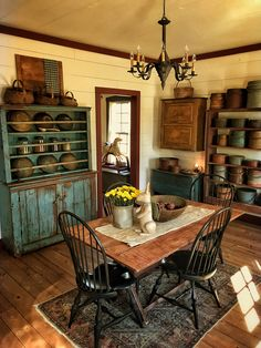 (notitle) - Home- Primitive Style - Interieur Colonial Home Decor, Colonial Kitchen, Farmhouse Sink Kitchen, Country Kitchen, Country Living, Primitive Dining Rooms, Primitive Homes, Primitive Kitchen, Primitive Country