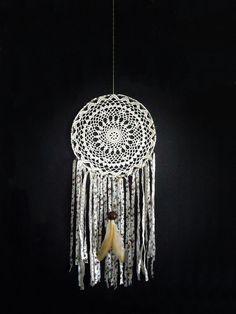 Bohemian dream catcher crochet lace white doily cream by wincsike, $40.00